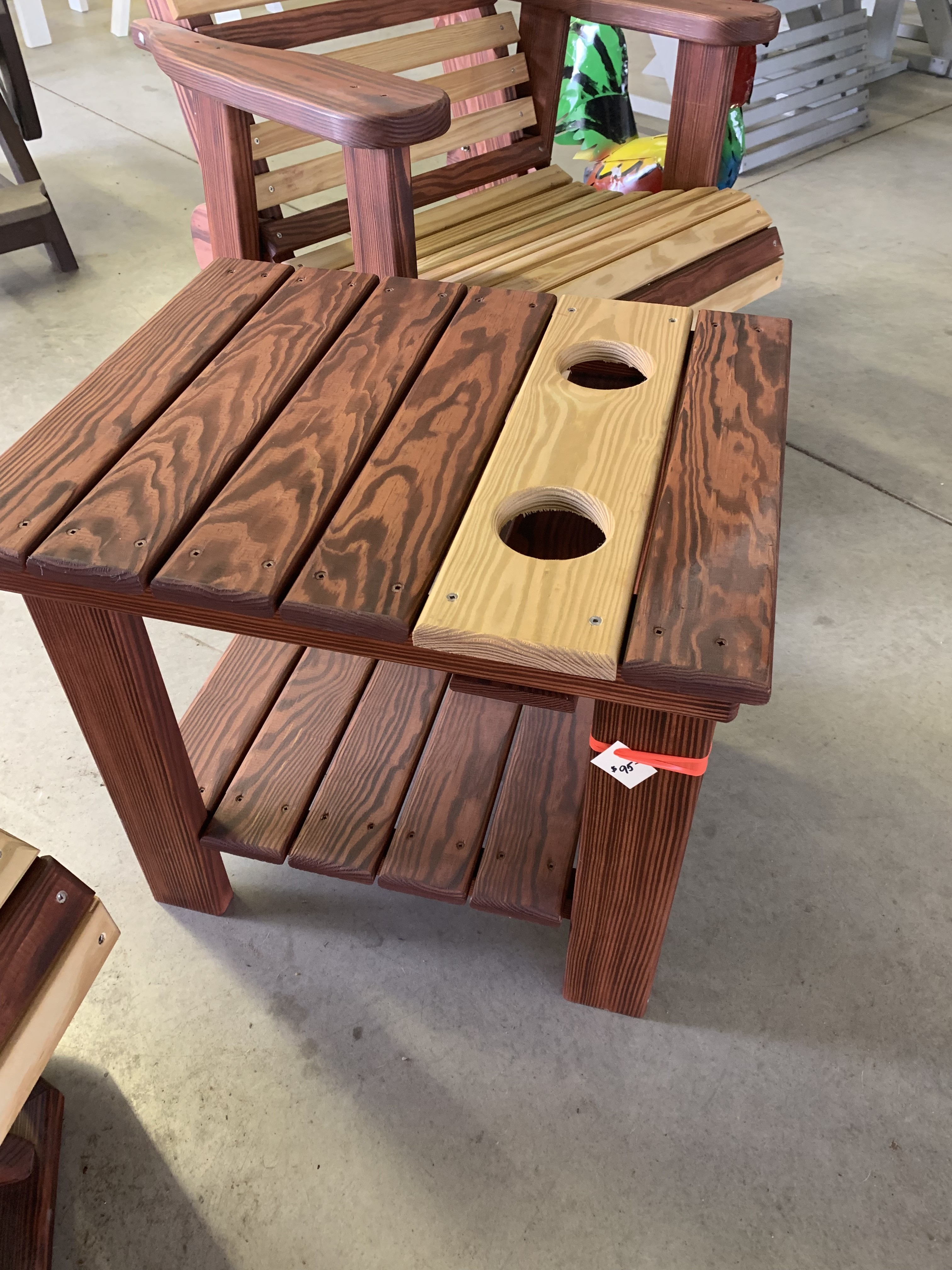 Stained Side Table With Cup Holders